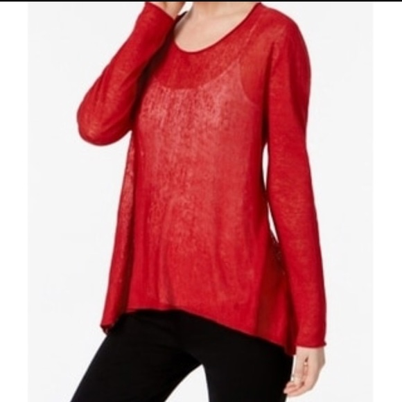 Sale Eileen Fisher Coral Highlow Linen Knit Top Poshmark