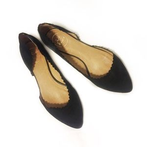 Jack Rogers | Black Chantel Scalloped Flats | 10
