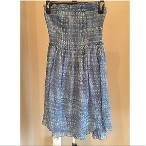 ABERCROMBIE & FITCH Blue Chiffon Strapless Dress