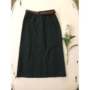 Vintage Wool Embroidered Mini Skirt