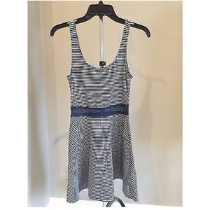 ABERCROMBIE & FITCH Navy & Grey Striped Dress