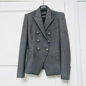 Balmain Gray Wool Blazer