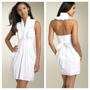 BCBGMAXAZRIA/ white poplin ruffle halter dress