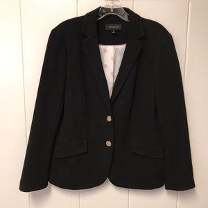 Talbots Basic Cotton Blazer Jacket Black 8