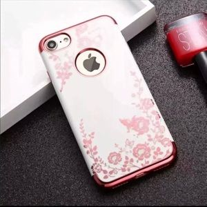 Accessories - Floral Flower case for IPhones White/Rose Gold