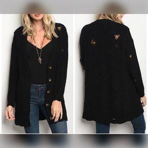 Sweaters - PREORDER Black Chunky Distressed Sweater Cardigan