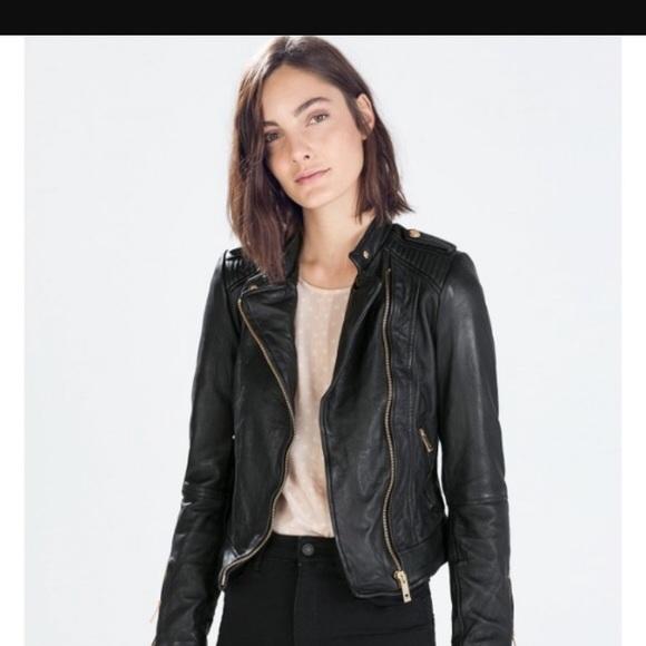 9015647e Zara leather Moto jacket with rose gold hardware. M_5a13c2e078b31cc30300e5e8