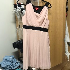 Light pink and black formal midi dress