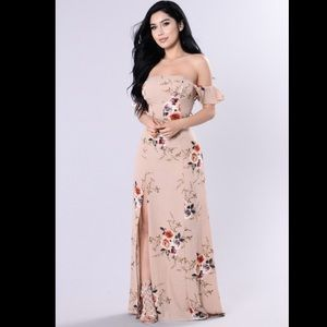 NEW! Fashion Nova Lovely Garden Dress Mocha/Floral