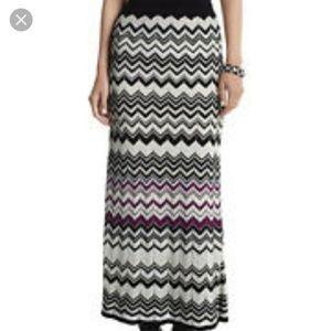 WHBM Chevron Maxi Skirt Size Medium