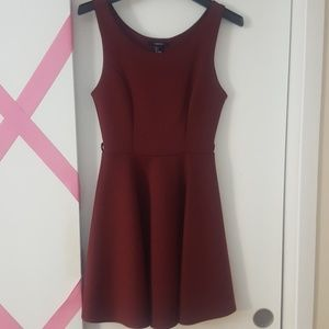 Burgundy holiday skater dress