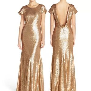 Candela Toulouse Gold Cowl Back Gown 6 New
