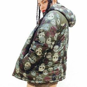 Vtg 90's skull camo puff parka hooded jacket