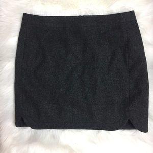 J Crew Shirttail Gray Wool Mini Skirt