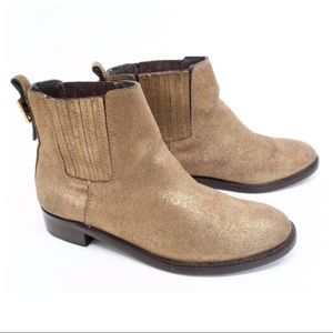 Tory Burch Chelsea Suede Gold Ankle Boots