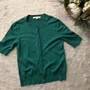 Loft Green Short Sleeve Cardigan