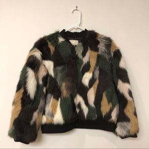 H&M Patchwork Faux Fur Bomber Jacket Coat