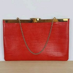Etra Vintage Clutch Red Leather