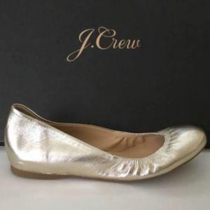 J CREW Cece Metallic Gold Ballet Flats size 7.5