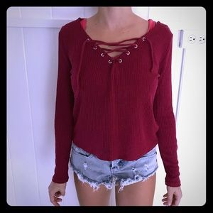 Maroon red lace up long sleeve tee from H&M