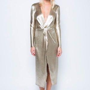 Satin gold holiday dress