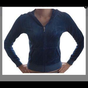 Juicy Couture Blue Velour Zip Up Hoodie sz M