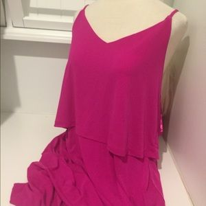 BANANA REPUBLIC HOT PINK SEXY CROSS BACK DRESS