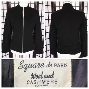 Vintage Black Wool Cashmere Zipper Jacket