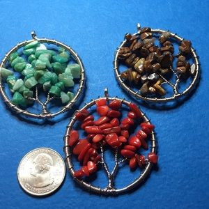 ER29 Gemstones Tree Of Life Wire Pendants