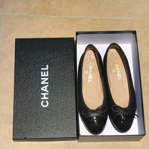 Chanel Ballerina Flat Black Leather/Patent Size 36