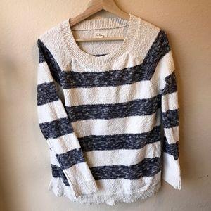 LOU & Grey Striped Popcorn Scoop Neck Sweater