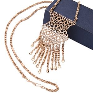 JUST IN Stella & Dot Gold Tassel Pendant Necklace
