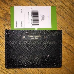 Kate Spade ♠️ graham black glitter ✨ card holder