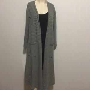 Sweaters - Black and beige striped LuLaRoe Sarah cardigan