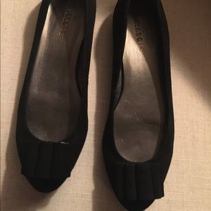 Talbots Black Flats with Bow