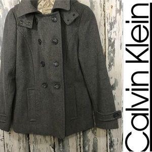 Calvin Klein gray hooded pea coat