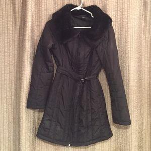 Guess fur collared peacoat jacket. Zip pockets