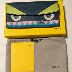 Fendi  Blue Leather Crayons Continental Wallet NIB