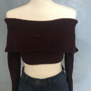 Burgundy Knitted Crop Top