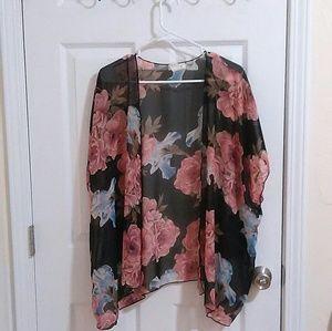 Sweaters - Floral Kimono Cardigan