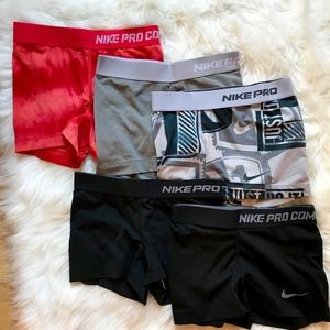BUNDLE of 5 Nike Pro Combat Shorts