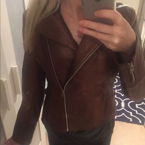 Brown leather zip up jacket from Argentina XS