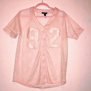 Pink mesh baseball shirt