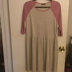 Cute super stretchy skater dress beige and pink