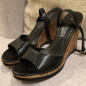 Cathy Jean Brazil black leather wedges, size 9