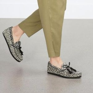 Zara Pony Hair Animal Print Loafers Mocassin Shoes