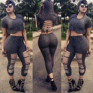 Sexy gray ripped 2 piece tracksuit