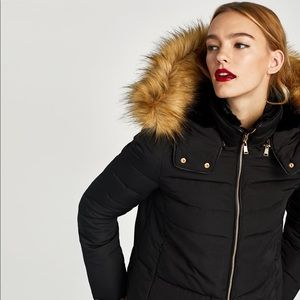 ZARA | Quilted Jacket with Textured Hood