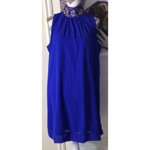 Royal Blue Sleeveless Jeweled Choker Dress