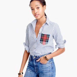 SOLD OUT- NWT J.Crew Striped Tartan Pocket Shirt
